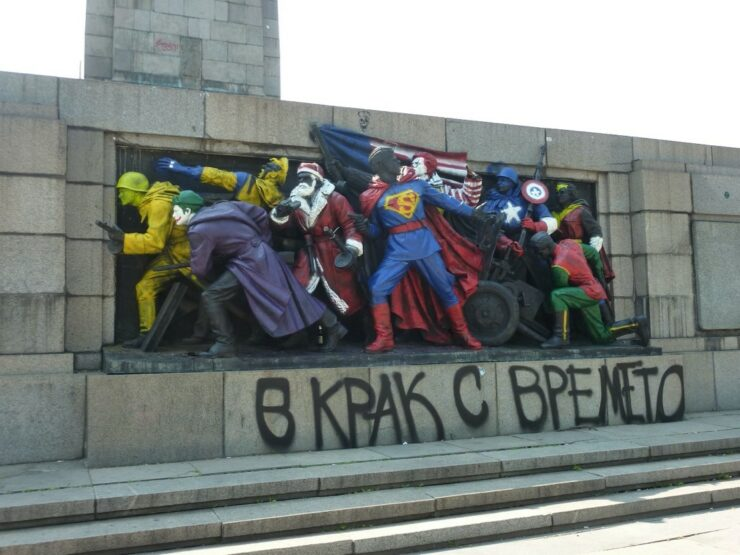 Monument to the Soviet Army, Sofia, 18 June 2011; repainted by anonymous collective.
