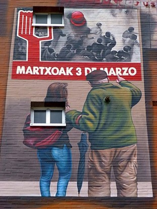 Wall painting dedicated to the Victoria-Gasteiz Massacre