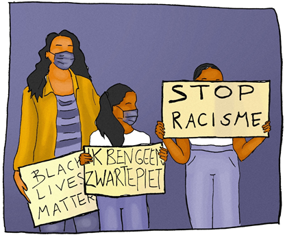 Black Lives Matter in the Netherlands. Illustration Marit van de Warenburg (coloring Thomas van Gaalen), 2021.