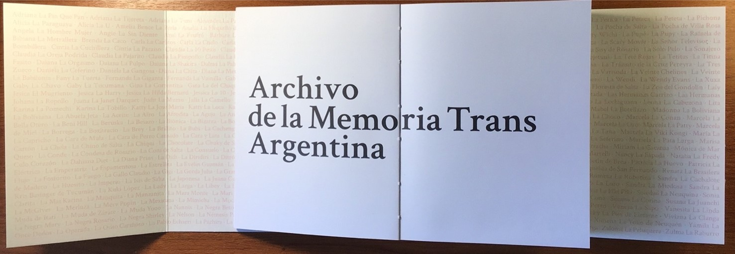 Unfolded cover flaps with names from the Archivo de la Memoria Trans Argentina book